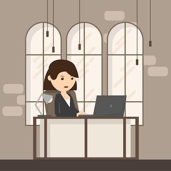 Local de trabalho de escritório com mesa, janela. mulher de negócios ou um balconista trabalhando em sua mesa de escritório. ilustração em vetor plana