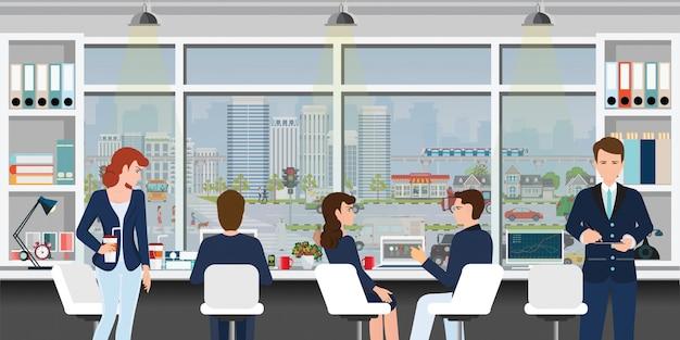 Local de trabalho de escritório com pessoas de negócios.