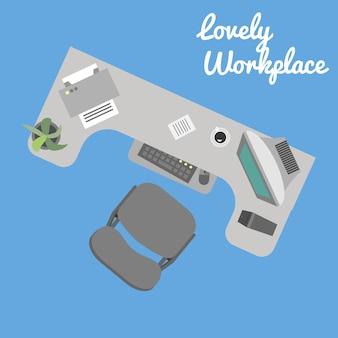 Local de trabalho de escritório vector plana