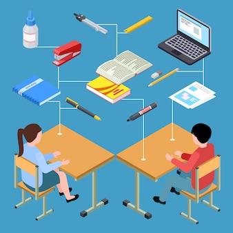Local de trabalho de estudantes modernos