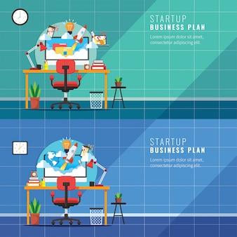 Local de trabalho de inicialização, conceito de negócio com foguete