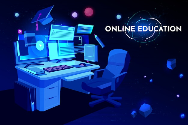 Local de trabalho do aluno de educação on-line com mesa de computador, monitor de pc e poltrona, mesa do local de trabalho em casa,