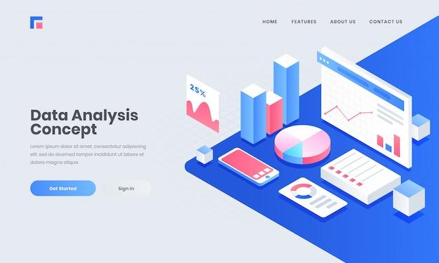 Local de trabalho do analista ou desenvolvedor, ilustração isométrica do smartphone com elementos de infográfico para o conceito de análise e gerenciamento de dados.
