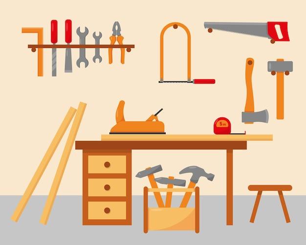 Local de trabalho do carpinteiro com ferramentas.