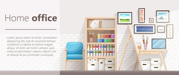 Local de trabalho do designer-ilustrador e artista com cavalete de desenho e muitos outros materiais artísticos. processo de trabalho artístico. ilustração design plano