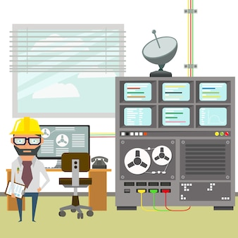 Local de trabalho do engenheiro. obras de engenharia. instalações e equipamentos modernos de pesquisa.