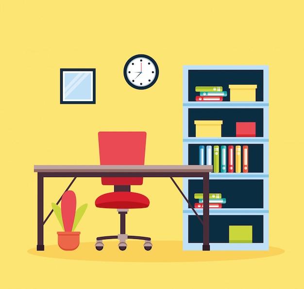 Local de trabalho interior do escritório