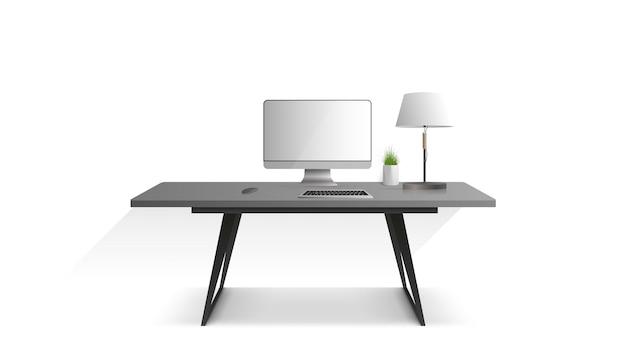 Local de trabalho isolado em um fundo branco. monitor, teclado, mouse de computador, abajur, planta de casa. vetor.