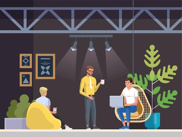 Local de trabalho moderno, cafeteria