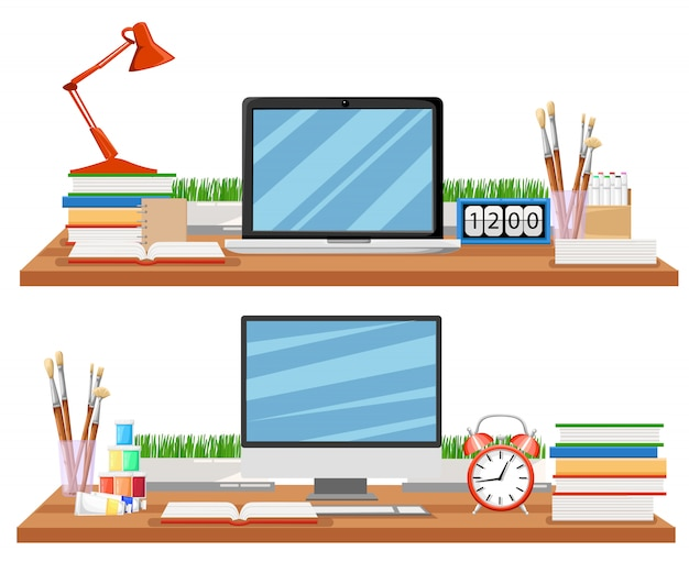 Local de trabalho no escritório com mesa, estantes, eletrônicos, livros. a mesa moderna com documentos e artigos de papelaria do computador é o uso no local de trabalho para banner e apresentações de modelo da web, computador.