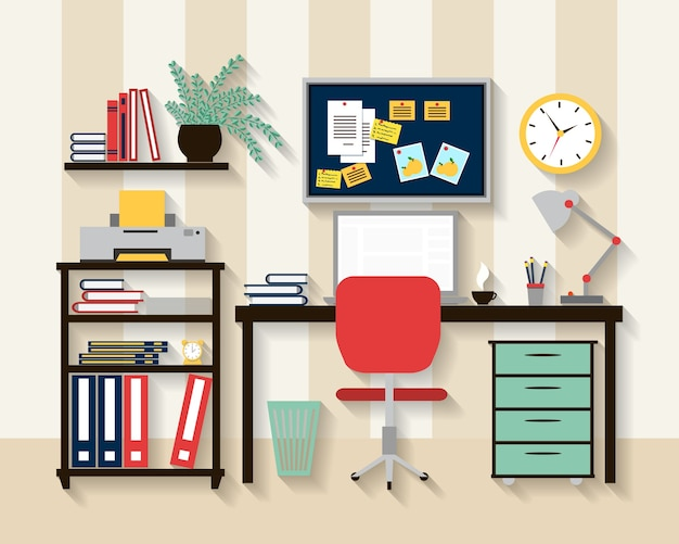 Local de trabalho no interior da sala do armário. laptop e mesa, cadeira e relógio, lâmpada e conforto.