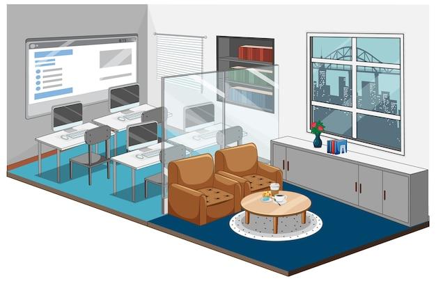 Local de trabalho ou sala de aula em estilo isométrico