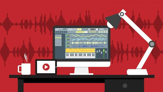 Local de trabalho, som, vídeo, editor, interface, software, aplicação, computador, monitor