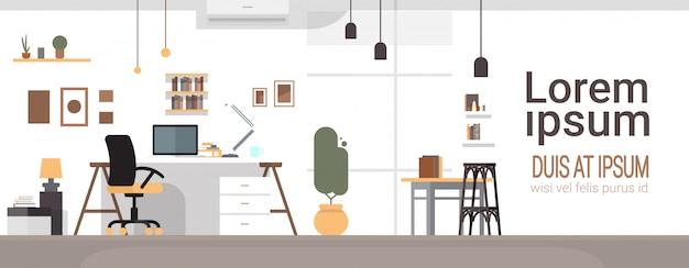 Local de trabalho vazio, escritório de computador de cadeira de escritório de mesa ninguém