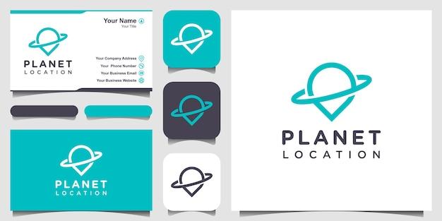 Local do planeta com estilo de arte de linha, logotipo e design de cartão de visita.