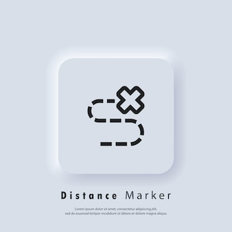 Local escondido do mapa do tesouro marcado com um x. ícone da linha de navegação de viagens. distância da trilha. ícone de destino. localização da rota. localização no mapa.