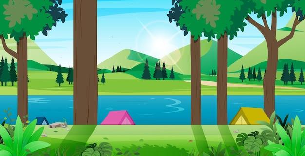 Local para barraca de camping descansando na paisagem natural.