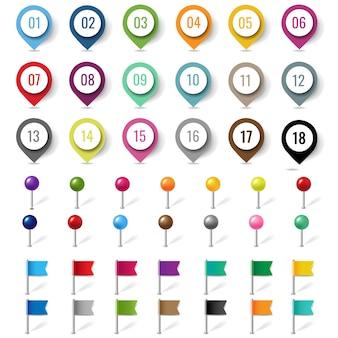 Localização colorida pin set isolated