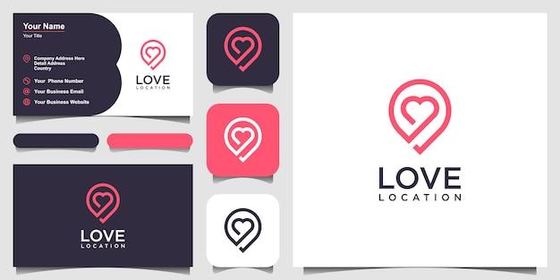 Localização criativa de amor com marcador de coração e mapa. modelo e cartão de visita