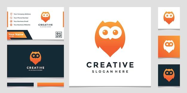 Localização da coruja combinada com um elegante modelo de design de logotipo de sinal de mapa de pinos