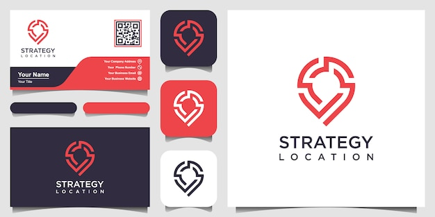 Localização da estratégia ou logo point tech e cartão de visita. tecnologia de estratégia criativa pin, eletrônica, digital, para o ícone ou o conceito de design.