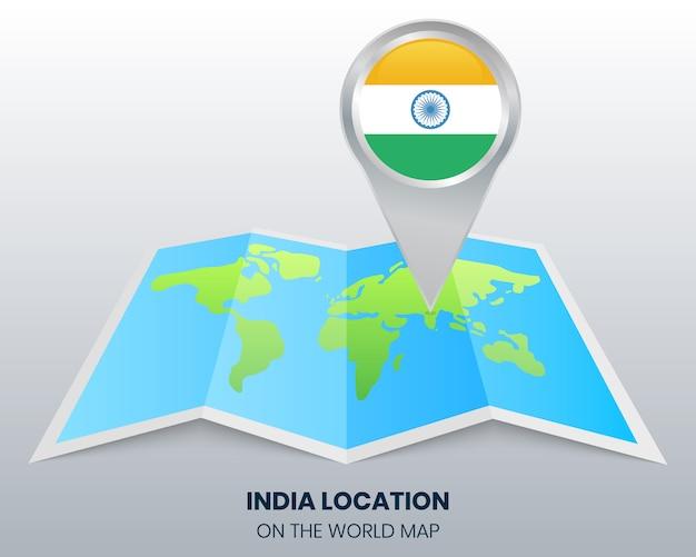 Localização da índia no mapa do mundo
