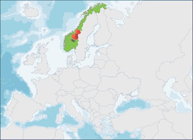 Localização da noruega no mapa da europa