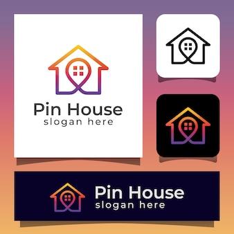 Localização da residência com o logotipo do marcador da casa e do mapa. imobiliária com logotipo de pin