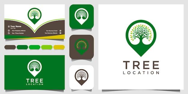Localização de árvore de símbolo, mapas de pinos combinam com árvore. logotipo e design de cartão de visita.