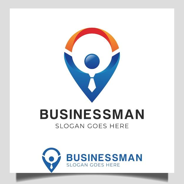 Localização de empresário de ponto de trabalho com ícone de mapa e trabalhador de pessoas para local de treinamento de negócios, logotipo de consultoria de negócios