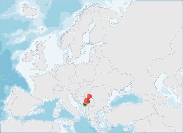 Localização de montenegro no sudeste da europa, na costa dos balcãs