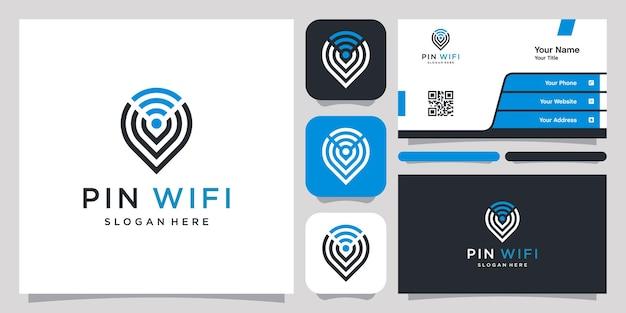 Localização de pinos e logotipo abstrato de wifi e cartão de visita