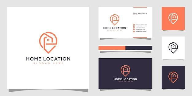 Localização de residência com logotipo de marcador de casa e mapa e cartão de visita