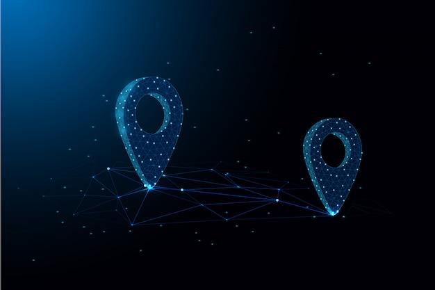 Localização distância conceito baixa ilustração poligonal - identifique a armação de arame poligonal de localização no fundo azul