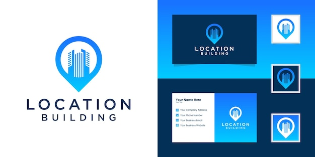 Localização do pino da combinação do logotipo e inspiração do cartão de visita do edifício