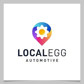 Localização do pino do mapa de design de logotipo de inspiração e ovo de engrenagem com logotipo colorido. vetor premium