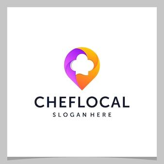 Localização do pino do mapa de design de logotipo do inspiration e um chapéu de chef com logotipo colorido. vetor premium