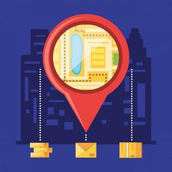 Localização do ponteiro com objetos de serviço logístico
