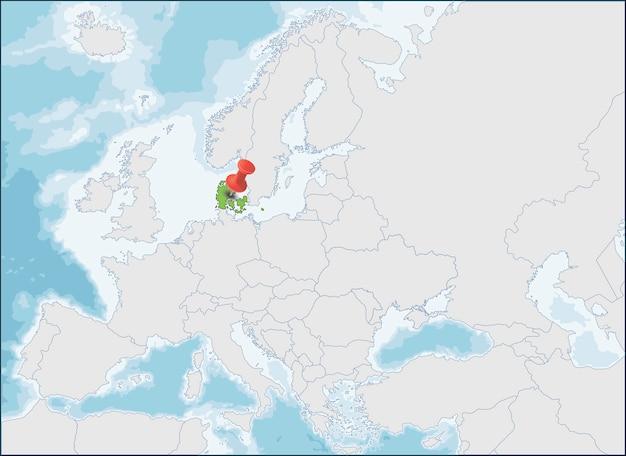 Localização do reino da dinamarca no mapa da europa