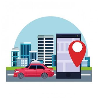 Localização do serviço de táxi