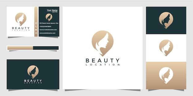 Localização e cartão de visita de mulheres de beleza