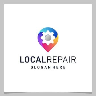 Localização e equipamento do pino do mapa de design do logotipo inspiration com logotipo colorido. vetor premium