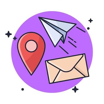 Localização enviar correio ilustração