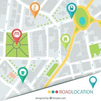 Localização estrada mapa