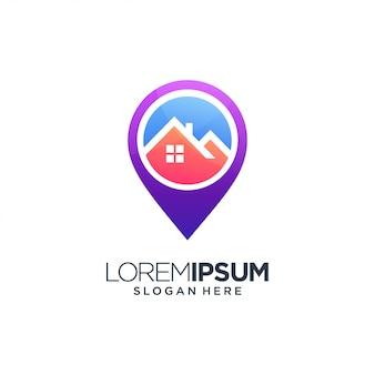 Localização imobiliária casa edifício logotipo