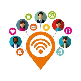 Localização pin com wi-fi e ícones de mídia social