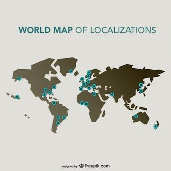 Localizações mapa mundo vector