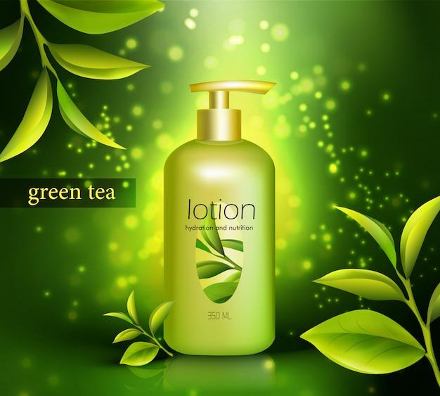 Loção com ilustração de chá verde