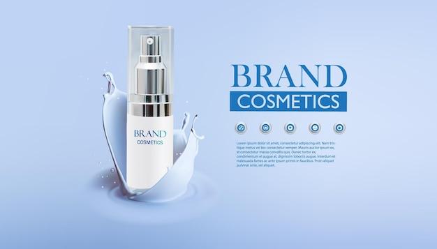 Loção corporal de produto cosmético para cuidados com a pele em frasco branco com respingos de creme