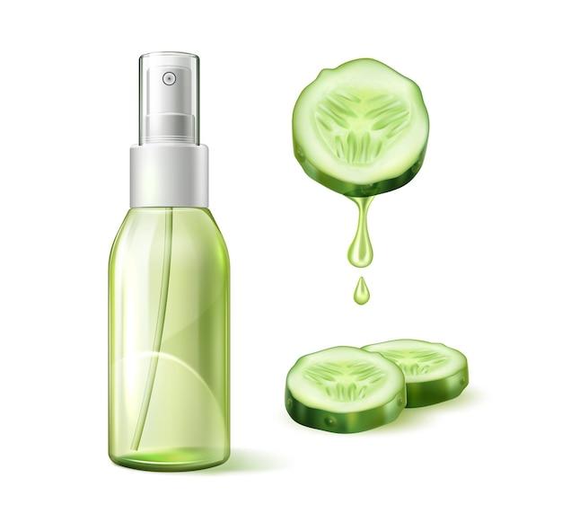 Loção hidratante realista de pepino com círculos fatiados de pepino com líquido verde escorrendo.